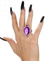 Gotisk ring med lila ädelsten - Halloweentillbehör