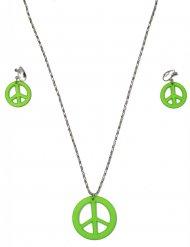 Grönt smyckeskit för hippien - Maskeradtillbehör för vuxna