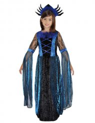 Blå och svart spindeldrottning - Halloweendräkt för barn