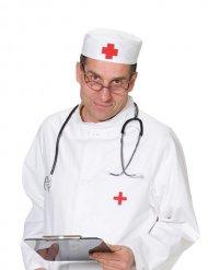 Huvudbonad för doktorer i vitt och rött