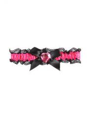 Rosa strumpeband med svart rosett dam