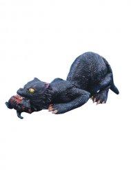Svart kattdekoration med råtta 76 cm