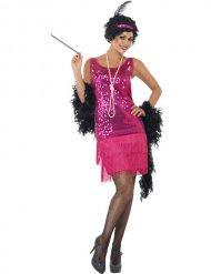 Rosa chalestonklänning för vuxna till maskeraden