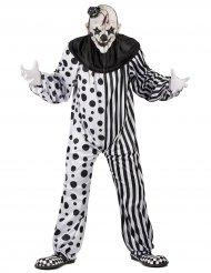 Svart och vit skräckclown - Kostym för vuxna till Halloween