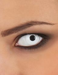 Vita fantasilinser med svart pupil - Halloweensminkning