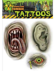 Tillfälliga tatueringar med muterade zombies
