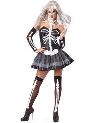 Sexig svartvit skelettdräkt