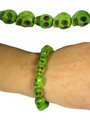 Grönt dödskalle armband - Halloween tillbehör
