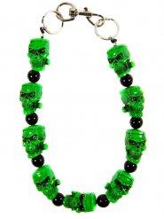 Grönt dödskalle halsband - Halloween pynt