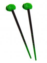 2 Hårnålar med gröna hjärnor 18 cm