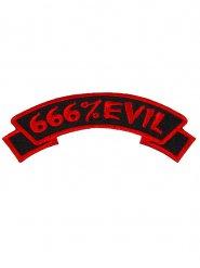 Rött Tygmärke 666% Evil