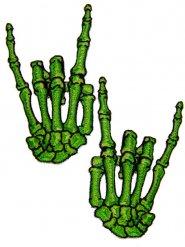 2 Gröna märken med skeletthänder
