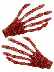 2 hårklämmor med röda skeletthänder 7 cm
