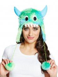 Grönblått lurvigt monster - Söt hatt till maskeraden