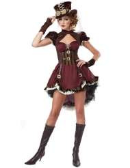 Steampunk dam i vinrött - Maskeraddräkt för vuxna