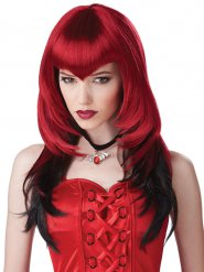 Gotisk vampyr - Peruk i rött och svart för vuxna till Halloween