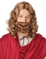 Brun jesusperuk med skägg