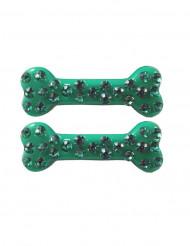 2 Gröna Hårklämmor med fejk-stenar