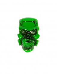 Grön dödskallebrosch - Halloween tillbehör