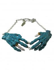 Halsband med blå zombiehänder