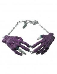 Halskedja med lila zombiehänder