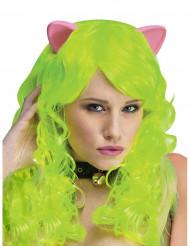Neongrönfantasyperuk med kattöron