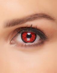 Röda kontaktlinser med fantasymotiv