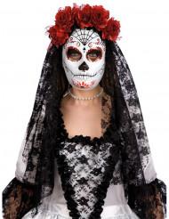 Dia de los Muertos mask med rosor - Halloweenmask