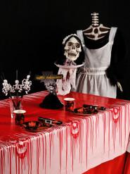 Blodig duk med dödskallar - Halloweenbjudning