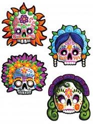 4 kartongmasker till Dia de los Muertos