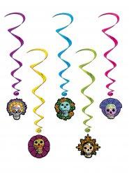 5 hängande spiraler med dödskallar - Halloweendekor