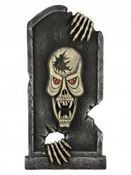 Gravsten med ilsket monster - Halloweendekoration med ljus