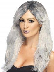 Glammig häxa - Grå peruk med lugg för vuxna
