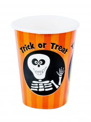 Glatt skelett - 8 pappersmuggar till Halloween dukningen