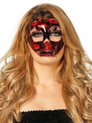 Skelett med rubiner och spets - Halloweenmask för vuxna