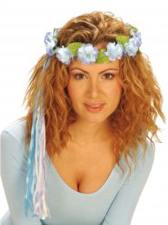 Blomkrans med ljusblåa blommor och sidenband för vuxna