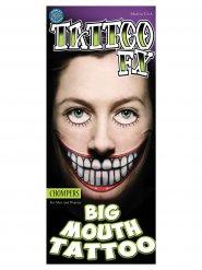 Fejk tatuering stora tänder för vuxna - Halloween sminkning