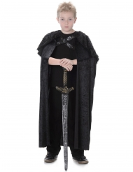 Medeltida pälsmantel för barn i svart