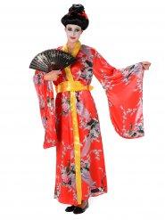 Geisha-inspirerad dräkt i rött för vuxna