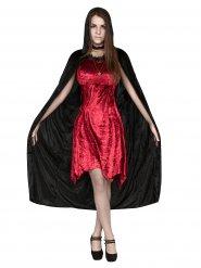 Fröken vampyr - Halloweendräkt med mantel för vuxna