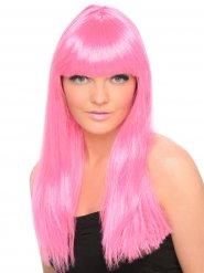 Lång peruk med rosa lugg - Peruk för vuxna