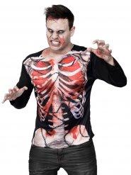 T-shirt för zombie med tryck av öppen buk - Halloweenkostym