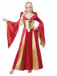 Medeltida drottning i rött och guld - Maskeraddräkt för vuxna