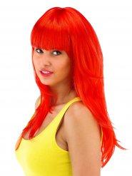 Lång röd peruk med rak lugg dam