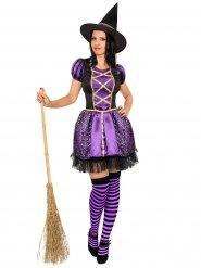 Förtjusande häxa i lila - Halloweendräkt för vuxna