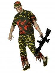Soldatzombie med kulhål - Halloweenkostym för vuxna