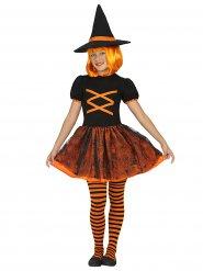 Orange Halloweenhäxa - Maskeraddräkt för barn