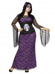 Tjusig klänning med dödskallar - Halloweenkostym i storstorlek