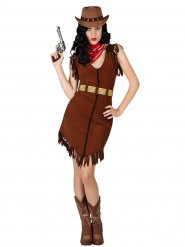 Fräck cowgirl i brun klänning - Maskeraddräkt för vuxna