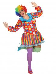 Färgglad clownklänning för vuxna till maskeraden